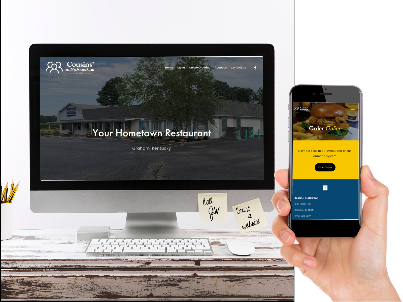 Cousins Restaurant Website Design Sample
