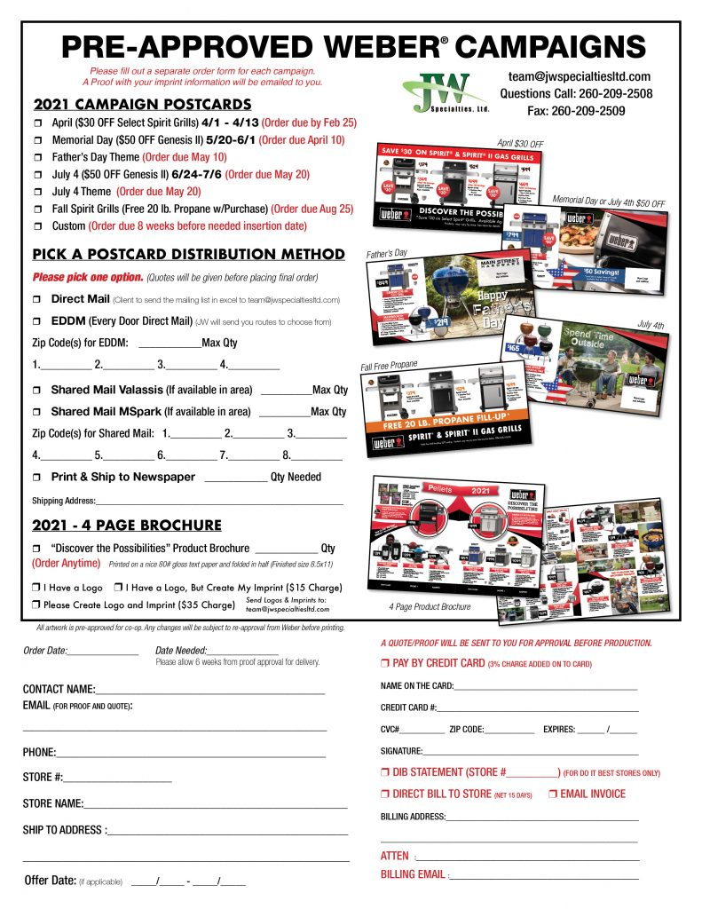 weber postcard order form